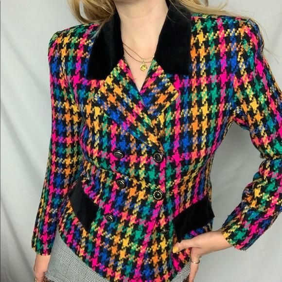 Vintage rainbow houndstooth blazer w/ velvet trim